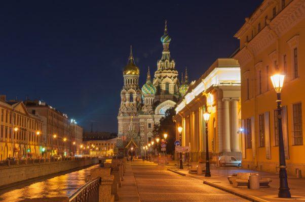 St. Petersburg Erlöserkirche bei Nacht