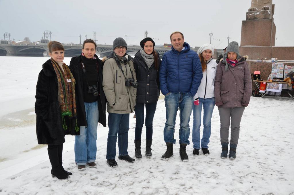 Gruppe in St. Petersburg im Januar 2015 - ganz links: Reiseleiterin Irina