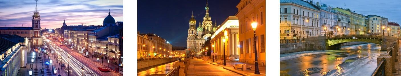 3 Bilder mit Ansichten zu Silvester in St. Petersburg