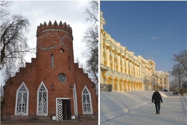 Links: Das Restaurant Admiralität; Rechts: Der Katharinenpalast in Puschkin