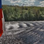 Russland-Flagge, Wolga Flusskreuzfahrt