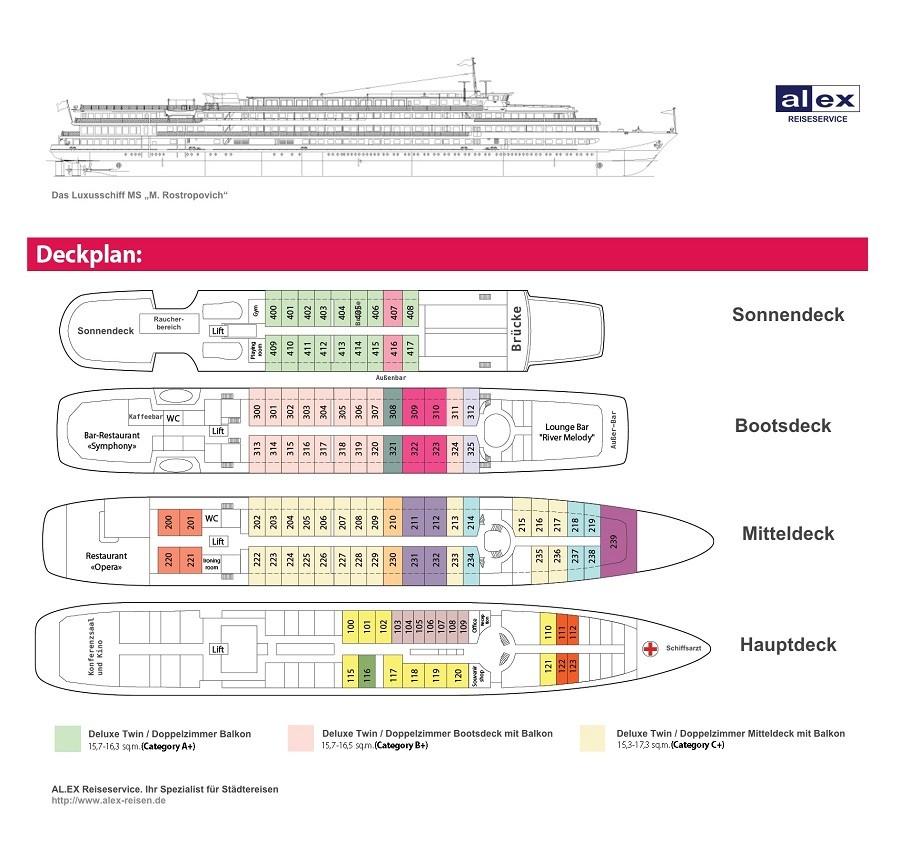 """Deckplan der MS """"M. Rostropovich"""" auf Deutsch"""