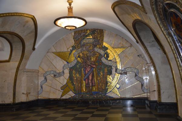 Mosaik in einer Station der Moskauer Metro