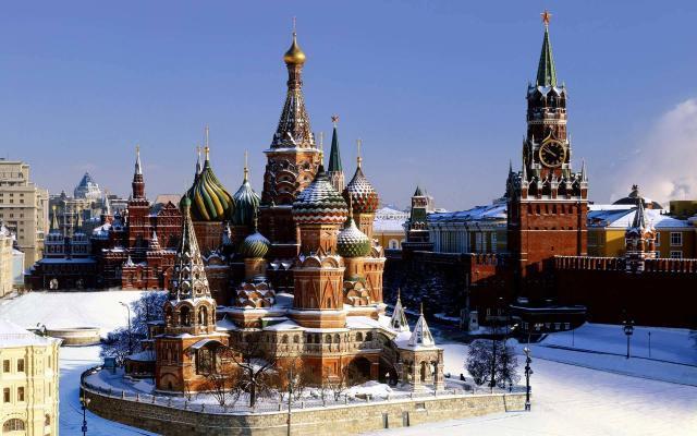 Roter Platz im Winter/zu Silvester in Moskau