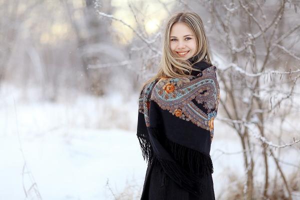 Russland Russische Frau mit Schal Winter