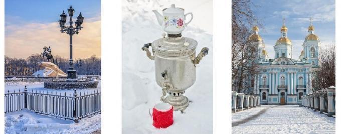 3 winterliche Ansichten zu Silvester in St. Petersburg