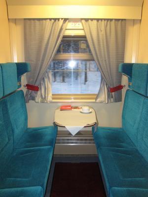 Transsibirische Eisenbahn, Komfort-Expresszug Rossiya - Abteil