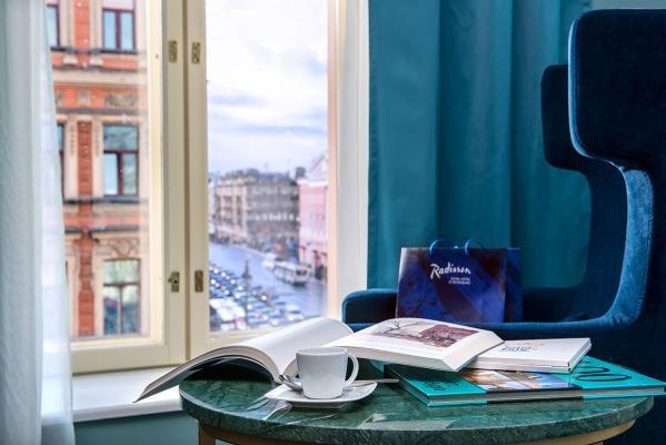 Blick auf den Newski-Prospekt - Hotel Radisson Royal, St. Petersburg