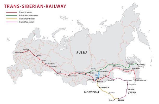 Der Streckenverlauf der Transsibirischen Eisenbahn.