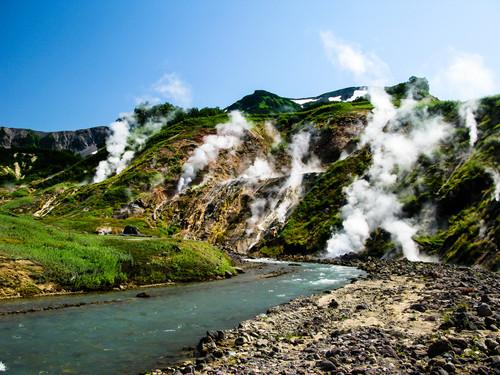 Kamtschatka Fluss Geysire