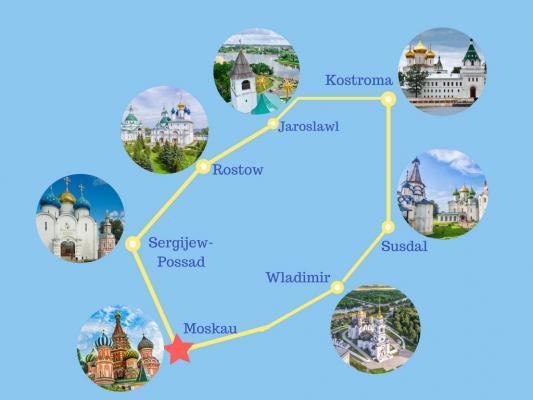 Reiseroute Moskau und der Goldene Ring