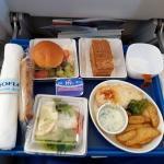 warmes Essen bei der Aeroflot auf dem Flug nach Kamtschatka