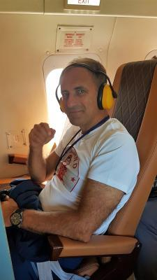 Geschäftsführer Herr Alexander Kudriavtsev im Hubschrauber, Kamtschatka