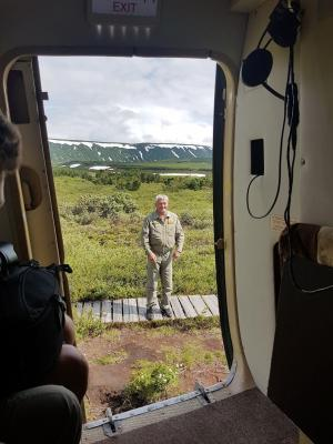 Nikolayewka, Landung des Hubschraubers in Uron Caldera, Kamtschatka