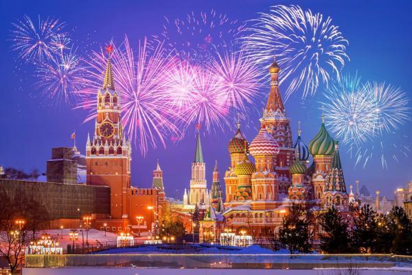Silvesterfeuerwerk über dem Kreml, Moskau