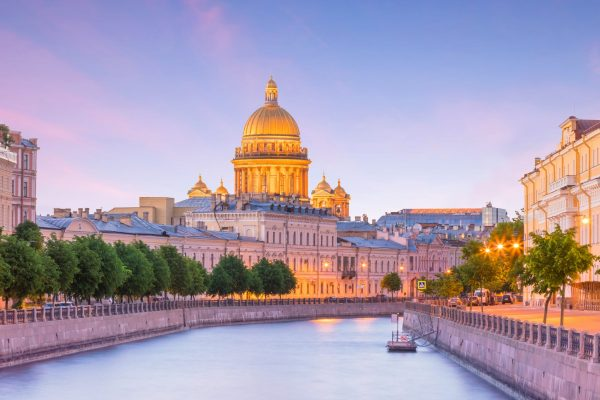 Isaak-Kathedrale und Fluss Fontanka, St. Petersburg